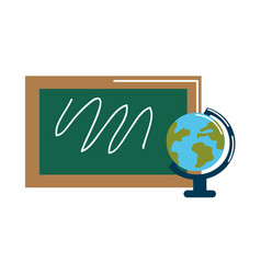 school board with earth planet desk vector image