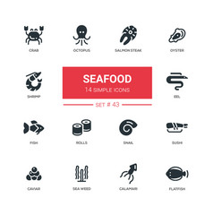 Seafood concept - line design icons set vector