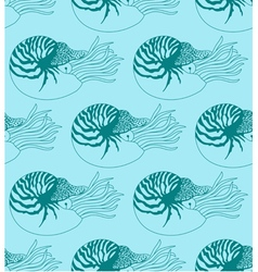Seamless pattern made of nautilus pompilius vector