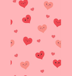 seamless pattern with cute hearts graphics vector image