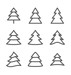 Set of Nine Xmas Trees Thin Line vector image