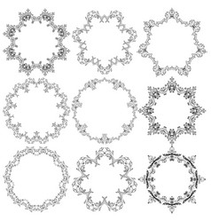 set of round lace frames vector image