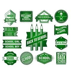 Set of School vintage labels vector image