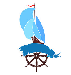 ship with sails vector image
