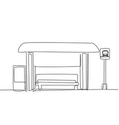 single one line drawing bus stops with shelter vector image