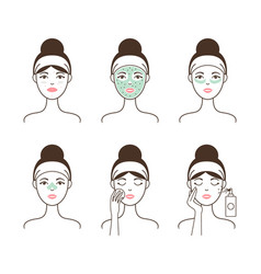 Skin cleansing with natural mask and patches set vector