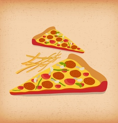 Slice of Deluxe Pizza vector