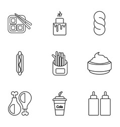 Snacks icons set outline style vector