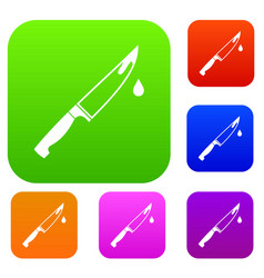 steel knife set collection vector image