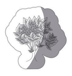 sticker gray color leafy tree with several leaves vector image