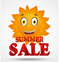 Summer sale with cute sun cartoon vector