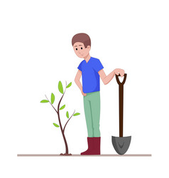 the guy with a shovel standing near the planted vector image vector image