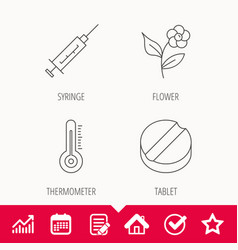 Thermometer syringe and tablet icons vector