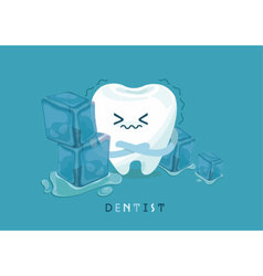 Tooth is so sensitive to coldness vector