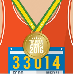 Top Medal Winner 2016 Sport Competition Concept vector
