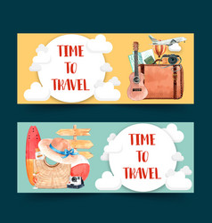 Tourism day banner design with clouds culture vector