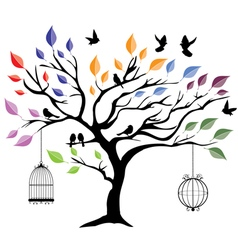 Tree color birds vector
