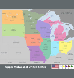 upper midwest of united states vector image
