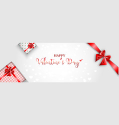 valentiness day with gift box and red ribbon vector image