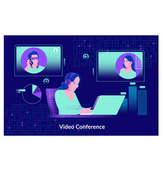 video conferencing at home woman having video vector image