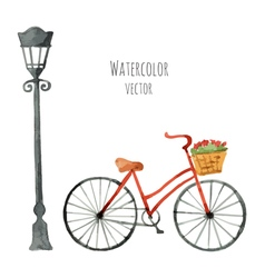 Watercolor Bicycle with basket and lantern vector
