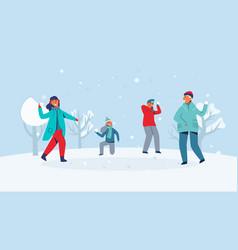 winter characters playing snowballs joyfull people vector image