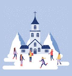 Winter vacations christmas vector