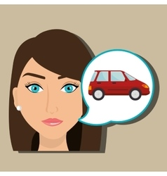 woman car vehicle transport vector image