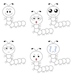 worm face many emotions vector image