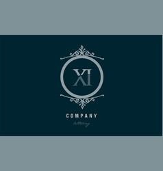 xi x i blue decorative monogram alphabet letter vector image