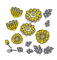 Yellow decorative stylized floral fall vector