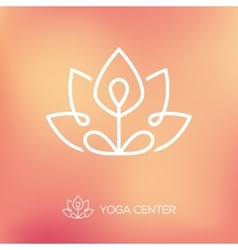 Yoga lotus pose linear logo vector