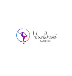 yoga women logo template vector image