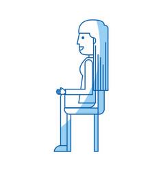 Young seated woman avatar character vector