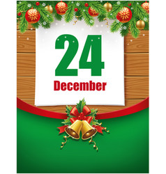 24th december date on calendar vector image vector image