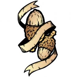 acorn banner tattoo style illustration vector image vector image