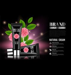 beautiful black gentle cream tube on dark vector image vector image