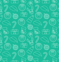 Christmas Seamless doodle background Green vector image vector image