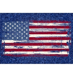 Grunge American flag on jeans background vector image vector image
