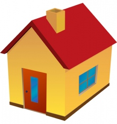 yellow house with red roof vector image