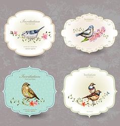 Collection retro label of cute bird watercolor vector