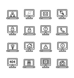 computer screen symbols with signs black thin line vector image