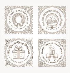 Frame with christmas greetings and symbols vector image