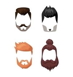 Hairstyle beard and hair face cut mask flat vector image vector image