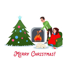 happy couple celebrating christmas near fireplace vector image