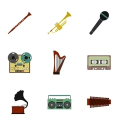 Musical device icons set flat style vector