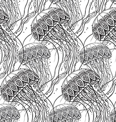 seamless pattern with Hand drawn jellyfish vector image vector image
