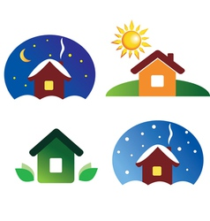 set of house icons different season and weather vector image vector image