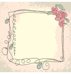 Vintage frame pattern and birds hand-drawing vector image vector image
