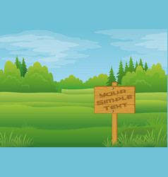 wood sign in summer forest vector image